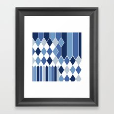 STRIPED DIAMONDS: NAVY Framed Art Print