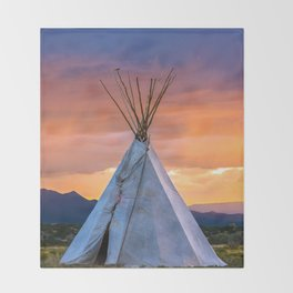 Southwest Teepee Sunset With Bird Throw Blanket
