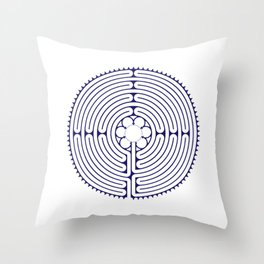 Cathedral of Our Lady of Chartres Labyrinth - Blue Throw Pillow