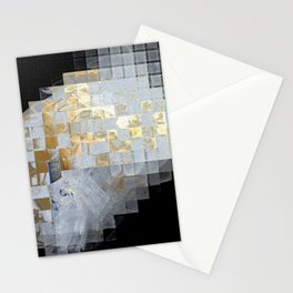 Squares in Gold and Silver Stationery Cards
