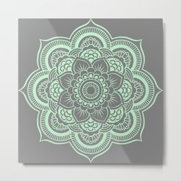 Mandala Flower Gray & Mint Metal Print