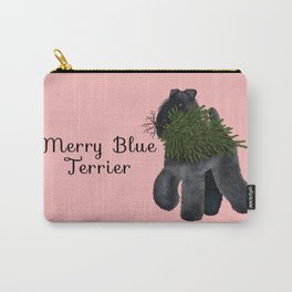 Merry Blue Terrier (Pink Background) Carry-All Pouch