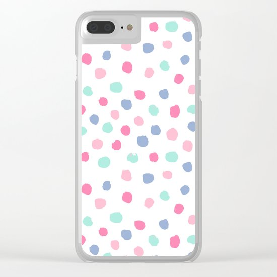 Pastel painted dots pattern minimal mint and pink nursery home decor patterns Clear iPhone Case