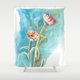 Blooms on Turquoise Shower Curtain