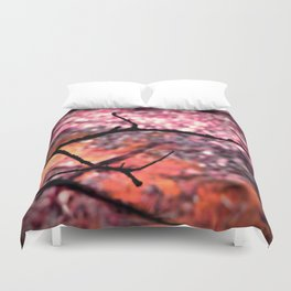 Living Coral Peach Pink Nature Abstract Duvet Cover