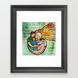 Mother with 3 Boys Fine Art Print, Green, Blue, Mother and Child Framed Art Print