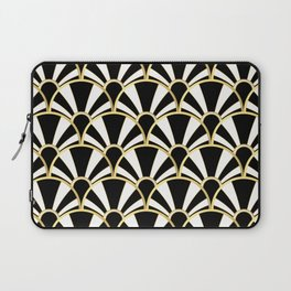 Black, White and Gold Classic Art Deco Fan Pattern Laptop Sleeve