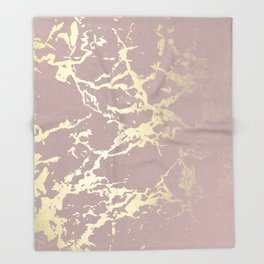 Kintsugi Ceramic Gold on Clay Pink Throw Blanket