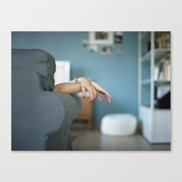 Red Nails Hands in Tension Canvas Print