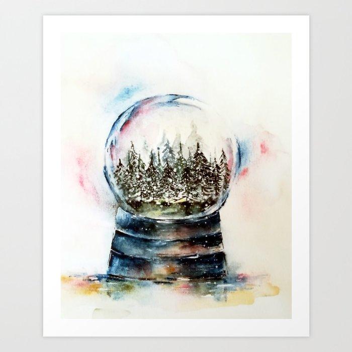Snow Globe Watercolour Illustration Art Print By Adrianamijaiche