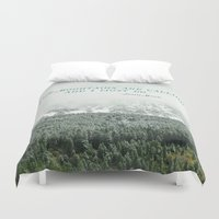 the mountains are calling Duvet Covers featuring The Mountains are Calling by Annie Bailey