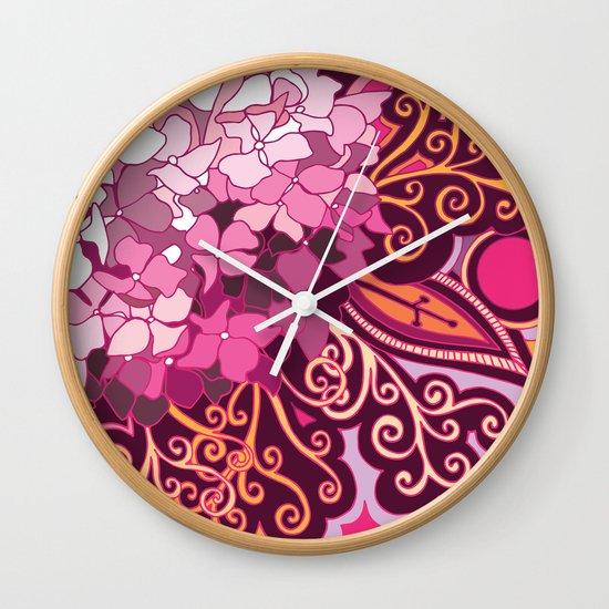 zentangle inspired Hortensia_rose pink doodle Wall Clock