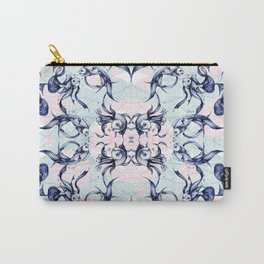 Goldfish Motif # Blue & Pink Carry-All Pouch