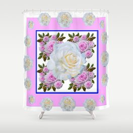 WHITE & PINK ROSES SPRING ARTISTIC ABSTRACT Shower Curtain
