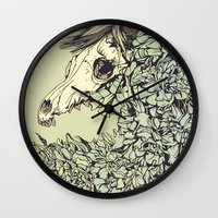 horse Wall Clocks featuring Beautiful Horse Old by dvdesign