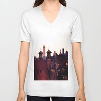 religion V-neck T-shirts featuring Cleveland Religion by Toni Tylicki