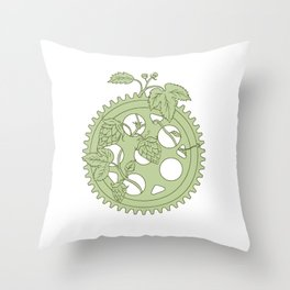 Vintage Single Ring Crank Hops Drawing Throw Pillow