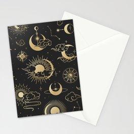 Black & Gold Sun Moon & Star Pattern Stationery Cards