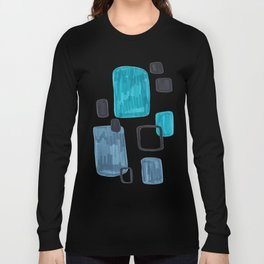 Mid Century Modern Abstract Minimalist Art Colorful Shapes Vintage Retro Style Turquoise Blue Grey Long Sleeve T-shirt