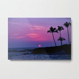 Hawaiian Sunset Over the Pacific Ocean Metal Print