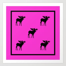 Bull_Moose Silhouette - Black on Pink Art Print