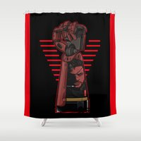 metal gear solid Shower Curtains featuring Metal Power Gear by Akyanyme