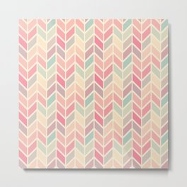 Pastel Chevron Geometric Pattern Metal Print