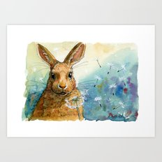 Funny rabbits - With Dandelions 548 Art Print