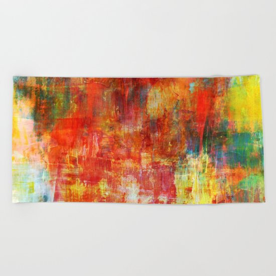 AUTUMN HARVEST - Fall Colorful Abstract Textural Painting Warm Red Orange Yellow Green Thanksgiving Beach Towel