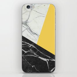 Black and White Marble with Pantone Primrose Yellow iPhone Skin