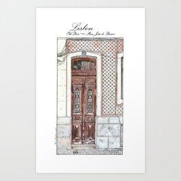 Old Door 2-Urban landscape-Lisbon-Portugal-Watercolor Art Print