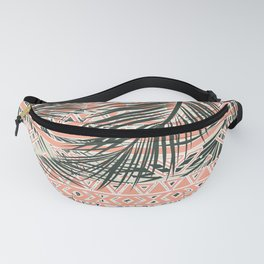 Tropical Aztec |  Coral Abstract Aztec Tropical Palm Leaf Pattern Fanny Pack