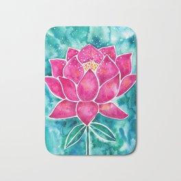 Sacred Lotus – Magenta Blossom with Turquoise Wash Bath Mat