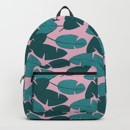 Palm leave boho summer pop ibiza party teal pink Backpack