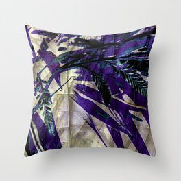 Crocosmia Shimmer in Champagne, Violet, Teal Throw Pillow