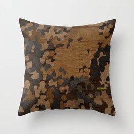 Modern Woodgrain Camouflage / Flecktarn Print Throw Pillow