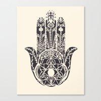 hamsa Canvas Prints featuring Hamsa by Hannah Gordon