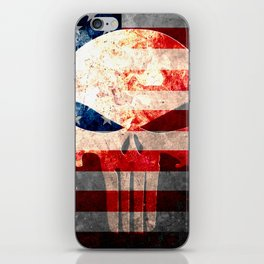 Punisher Themed Skull and American Flag on Distressed Metal iPhone Skin