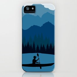 Retro Mountain River Lake Kayaking Canoe Kayak Paddling iPhone Case