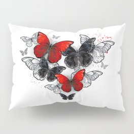 Realistic Black and Red Morpho Butterflies Pillow Sham