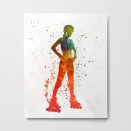 Woman in roller skates 11 in watercolor Metal Print
