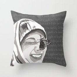 Happiness in Grayscale Throw Pillow