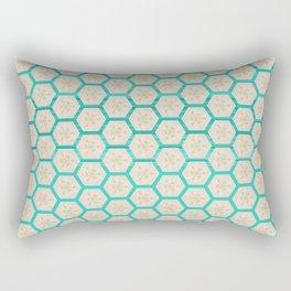 Geometric Bright Teal Taupe Pattern Design Rectangular Pillow