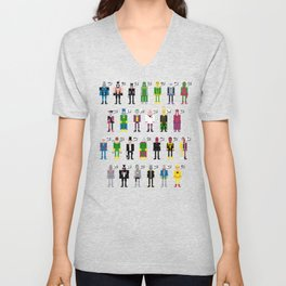 Pixel Supervillain Alphabet Unisex V-Neck