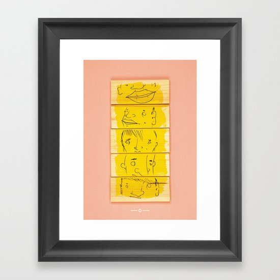 Wooden Faces Framed Art Print