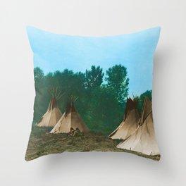 Assiniboine Camp - American Indian Tipis Throw Pillow