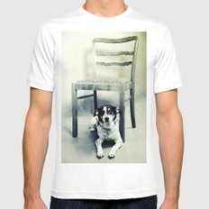 Dog under the old chair MEDIUM White Mens Fitted Tee