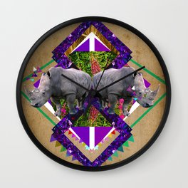 Rhinoceroses  Wall Clock