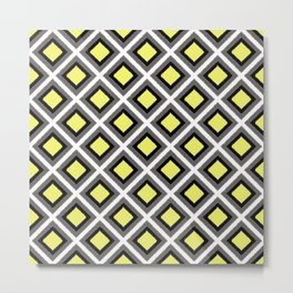 Grey, Black, Yellow Ikat Diamonds Metal Print