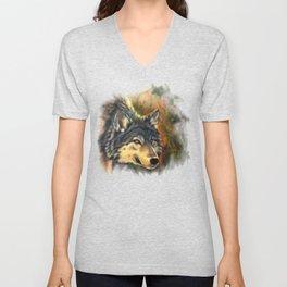 Wolf Painting - Moment Unisex V-Neck